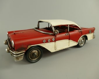 Blechmodell Blechauto Modellauto Oldtimer Eisen Rot-Weiß Antik Eisen Retro 29 cm