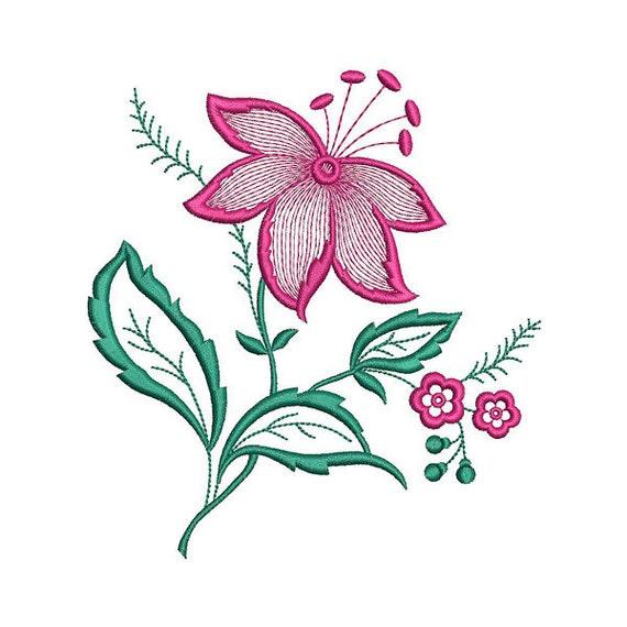 Flor de diseño de la máquina del bordado bordado de flores | Etsy