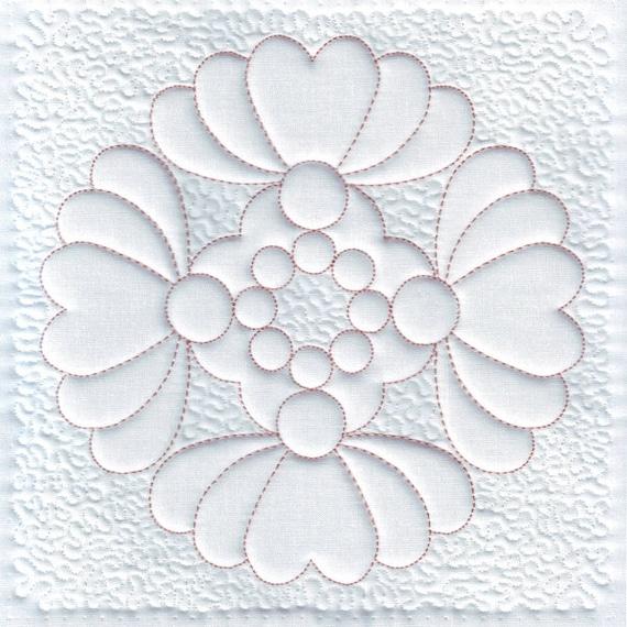 Corazón la máquina del bordado diseño, bloque del edredón, Trapunto, patrón  que acolcha, Digital, descarga inmediata