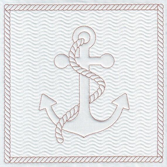 Diseño bordado ancla náutica patrón bordado Quilt bloque del | Etsy