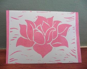 1 x Lotus Card - Hand printed Card - Lino cut Technique.