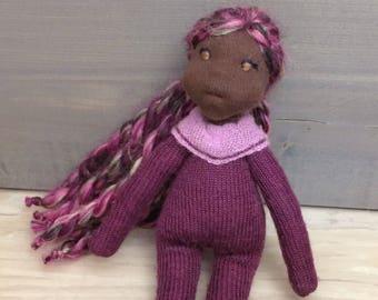 Natural fiber art doll Waldorf inspired