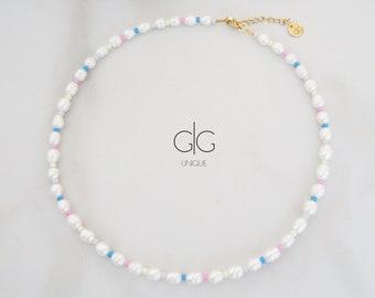 Colorful pearl necklace / Vibrant color pearl necklace / Pearl beaded necklace / Freshwater pearl necklace / Rainbow pearl necklace