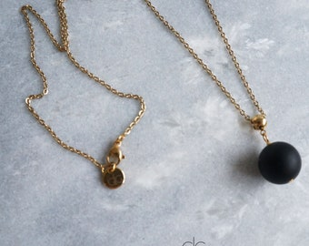 """Black Gold Agate Pendant Necklace Chain 16-24/"""" Calming Peace Gemstone Jewelry UK"""