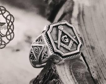 Masonic Ring Sterling Silver Ring  Men's Ring Freemason ring