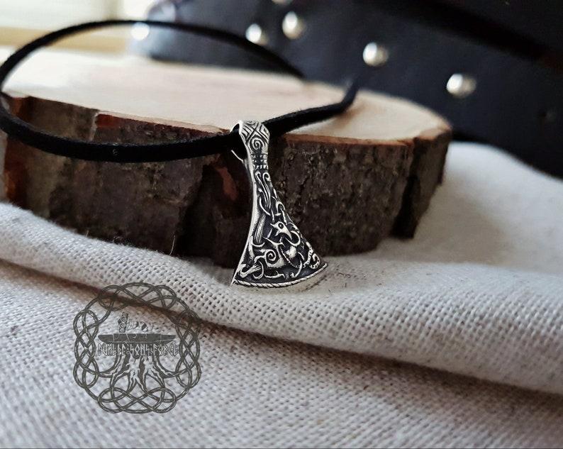 Small Viking Axe Pendant Sterling Silver Viking Necklace Norse Pendant Viking Jewelry Mammen Stylization