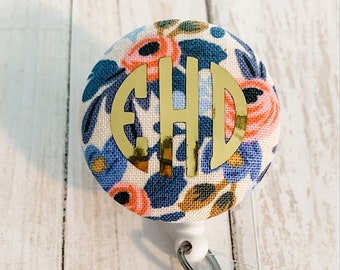 Interchangeable Badge Reel | Rifle Paper Co - Rosa Floral | Nurse Name Badge ID Holder, Alligator, Interchangeable Retractable