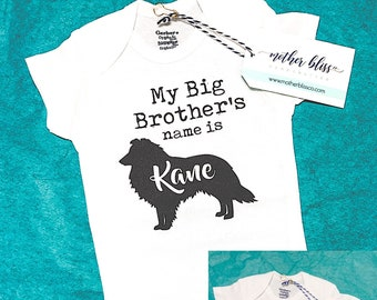 Personalized Dog Big Brother or Big Sister with Dog Name and Breed ONESIE® | Bodysuit New Baby | Baby Shower + New Mom Gift | Dog Mom