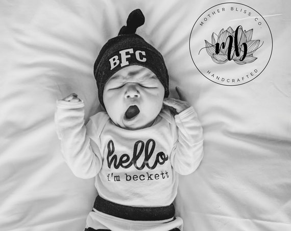 Going Home Complete Outfit | Hello Onesie® Pant Hat Monogrammed Set | Personalized Going Home Set | Newborn | Baby Shower Gift | New Mom