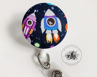 Purple space design lanyard Space design badge holder Outer space badge reel SPACE fabric button reel