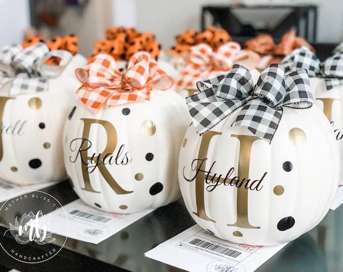 Featured listing image: Personalized Halloween Foam Pumpkins - Halloween Pumpkins - Family Name Pumpkins - Reusable Pumpkins
