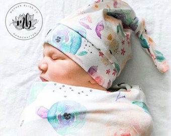 Light Floral Baby Girl Swaddle Set with Knotted Hat | Newborn Photo Prop Cocoon | Newborn Swaddle Set with Headband | Ready to Ship