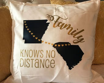 Personalized Family Knows No Distance States + Heart Throw Pillow - Wedding Gift