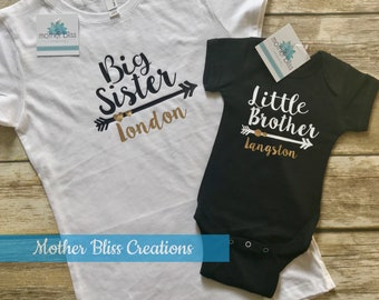 Little Brother Sister Shirt Set | Pregnancy Annoucement | Sibling Matching Set