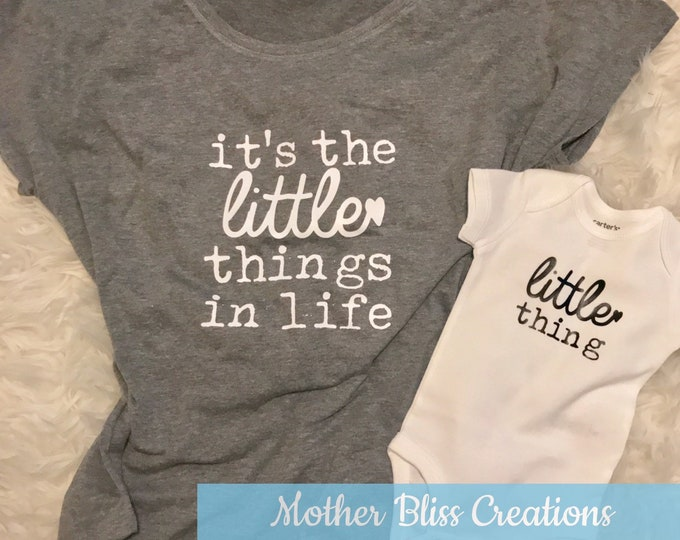 Featured listing image: Mommy and Me Shirt and Bodysuit Set | It's The Little Things | Miracle Baby | New Baby | Baby Shower + New Mom Gift | Funny Baby