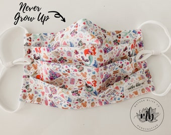 Never Grow Up Watercolor Passholder Inspired | Handmade Fabric Mask with Pocket and Nose Wire - Washable Mask With Insert - Reusable