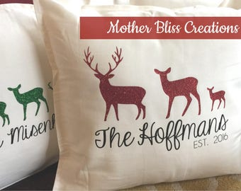 Holiday Personalized Reindeer Family Pillow | Holiday Family | Christmas Pillow | Monogrammed Holiday Pillow | Holiday Decor