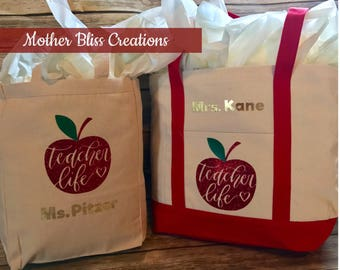 Personalized Teacher Tote Canvas Bag