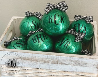 Personalized Monogrammed Christmas Ornament | Glitter Ornament | Monogrammed Ornament | Unique gift | Christmas Gift
