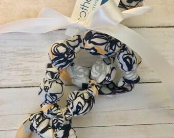 Modern Spring Nursing Necklace | Breastfeeding | Organic Wood | Fabric Neckwear | Baby Shower | Nursing