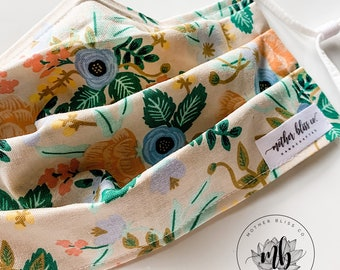 Rifle Paper Co Primavera Birch Blush Mask | Handmade 100% Cotton Fabric Mask with Pocket - Washable Mask With Insert - Reusable