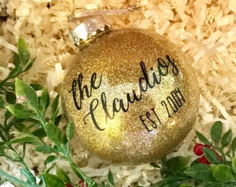 Personalized Christmas Ornament | Family Name Ornament | Glitter Ornament | Monogrammed Ornament | Unique gift | Newlywed Gift