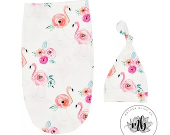 Floral Flamingo Watercolor Baby Swaddle Sack Set | Newborn Photo Prop Cocoon | Newborn Swaddle Set with Headband | Ready to Ship | Rainbow