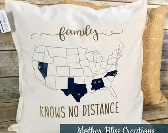 Personalized Family Knows No Distance MULTIPLE States + Heart Throw Pillow - Wedding Gift | United States Map Family Pillow