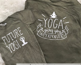 Yoga Makes Me Superpowerful | Mommy's Yoga Partner Namaste | Mommy and Me Yoga Tee Set | New Mom | Yogi | Yogi Baby