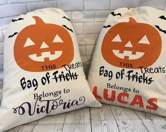 Halloween Trick or Treat Bags Canvas Personalized -Trick or Treat Bag- Halloween Sack-Trick or Treat Bag -Candy Sack