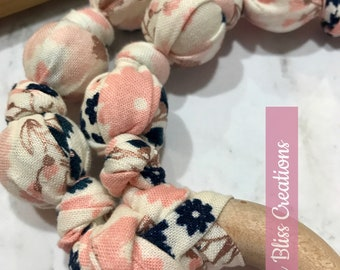 Blush Floral Rose Gold Detail Teething & Nursing Necklace | Breastfeeding | Organic Wood Teether |Wooden | Fabric Neckwear | Baby Shower|Nur