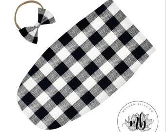 Buffalo Plead Fall Print Baby Swaddle Sack Set | Newborn Photo Prop Cocoon | Newborn Swaddle Set with Headband | Ready to Ship Cocoon Sack