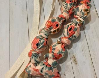 Rifle Paper Co Rosa Peach Teething & Nursing Necklace | Breastfeeding | Organic Wood Teether |Wooden | Fabric Neckwear | Baby Shower|Nursing