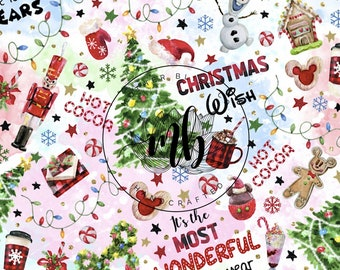IN STOCK! Fabric Tumbler Cut Size 9x14 - Disney Christmas Fabric - Hot Cocoa Fabric - Most Wonderful Time Mickey Fabric - Mask Making