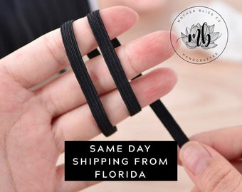 Ships SAME DAY From FL 1/4 in Braided Black Elastic Band Cord Knit By The Yard For Sewing, Masks and Crafts