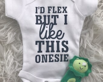 I'd Flex But I Like This Onesie ® Bodysuit   Miracle Baby   New Baby   Baby Shower + New Mom Gift   Funny Baby Outifit
