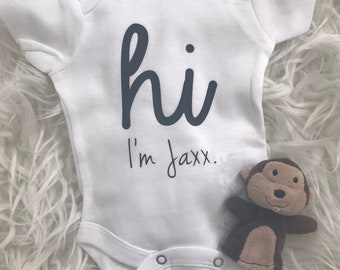Handmade Personalized Going Home Outfit  | Name Bodysuit | Miracle Baby | New Baby | Baby Shower + New Mom Gift | Hi Hello I'm Bodysuit