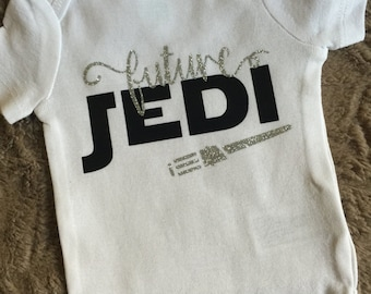 "Baby Handmade Bodysuit One Piece Bodysuit Personalized ""Future Jedi"" Star Wars Family Pregnancy Announcement"