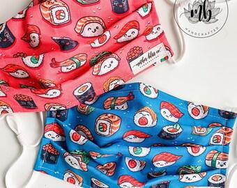 Sushi Kawaii Mask | Japanese Sushi Mask Handmade Fabric Mask with Pocket - Washable Mask With Insert - Reusable