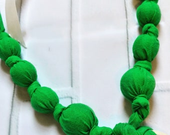 Grassy Green Teething & Nursing Necklace | Breastfeeding | Organic Wood Teether |Wooden | Fabric Neckwear | Baby Shower|Nursing