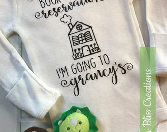 "Handmade, Personalized ""Book My Reservation I'm going to grandma's"" One Piece Bodysuit Baby Shower Gift 
