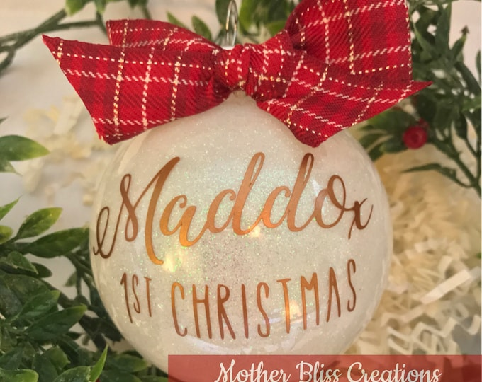 Featured listing image: Personalized Christmas Ornament | Baby's First Christmas | Glitter Ornament | Monogrammed Ornament | Unique gift