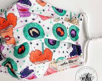 Halloween Inspired Hocus Pocus Mask | Coffee Fall Handmade Mask with Pocket - Washable Mask With Insert - Reusable - Witches Brew Mask