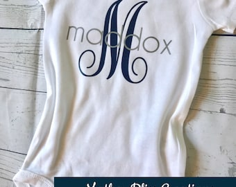 Handmade, Personalized First Name One Piece Bodysuit | Monogram | Baby Shower Gift | New Mom | Going home Outfit