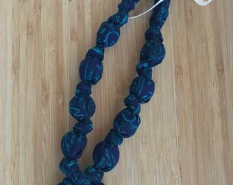 Midnight Flowers Cotton Teething Nursing Necklace | Breastfeeding | Organic Wood Teether | Wood | Natural | Crunchy | Fabric Neckwear |