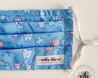 Brush Your Teeth Mask | Fabric Mask with Pocket - Washable Mask With Insert - Reusable - Dentist Mask - Dental Assistant Hygienist Mask