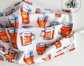 Beer Theme Mask   IPA Brewery Mask   Handmade Fabric Mask with Pocket for Filter - Adjustable Elastic - Washable Reusable