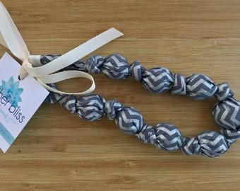 Silver Chevron Cotton Teething Nursing Necklace | Breastfeeding | Organic Wood Teether | Wood | Natural | Crunchy | Fabric Neckwear |