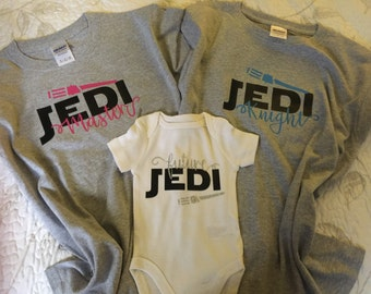 "Family Baby Sibling Matching Shirts |Personalized ""Jedi Master"" or ""Jedi Knight"" Star Wars 