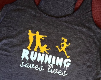 Running Saves Lifes Zombie *Workout Tank Top* Women's Running Top